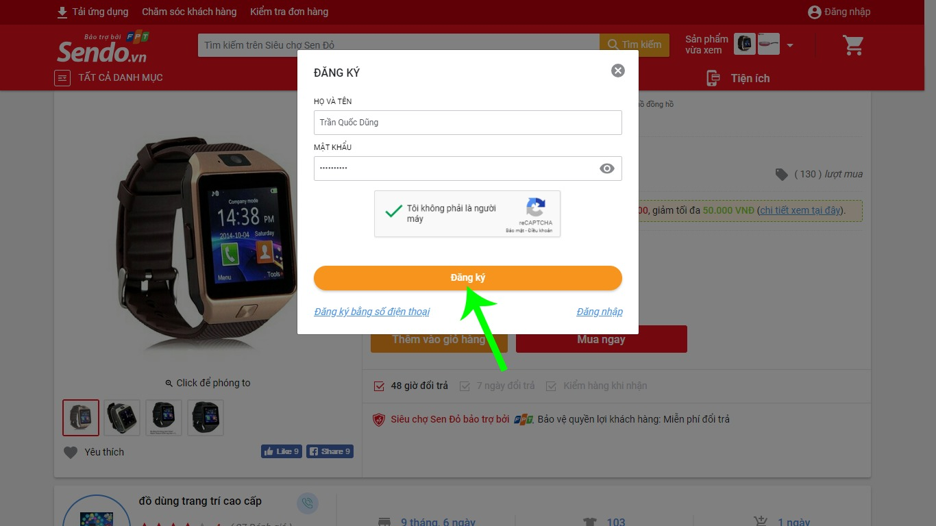 Hoàn tất đăng ký tài khoản Sendo.vn