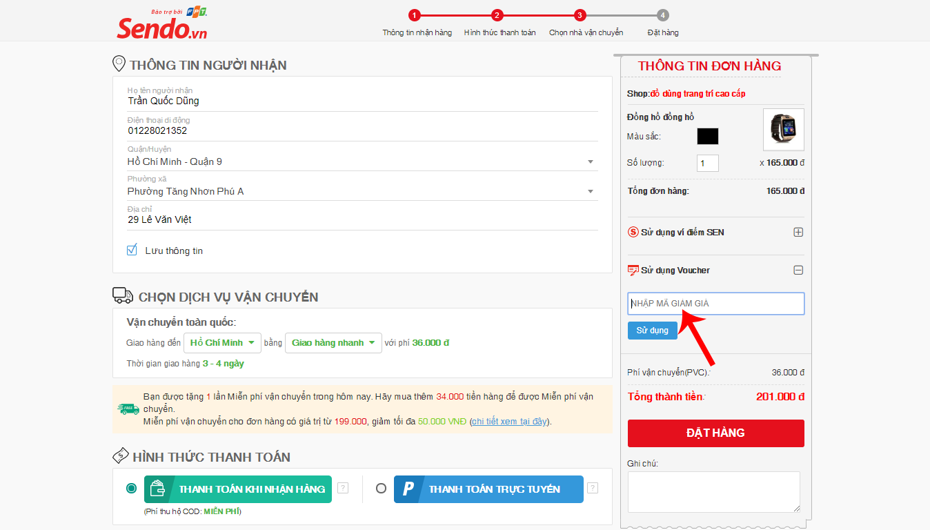 Hướng dẫn mua hàng trên Sendo - nhập mã giảm giá Sendo