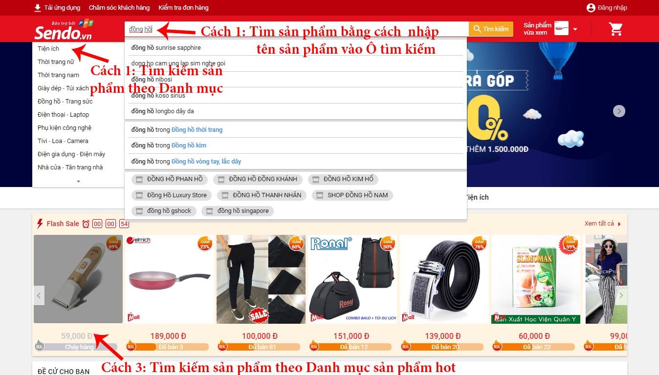Hướng dẫn mua hàng trên Sendo - tìm kiếm sản phẩm