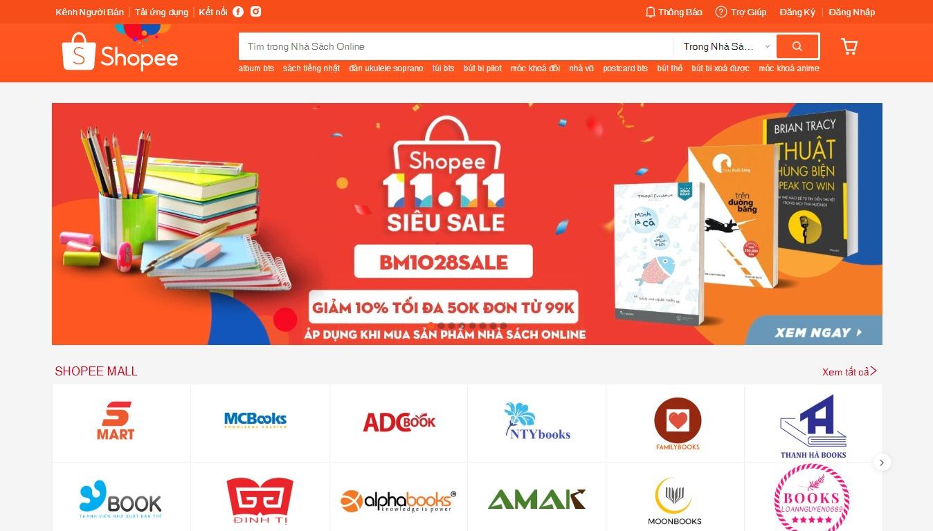 nhà sách online Shopee