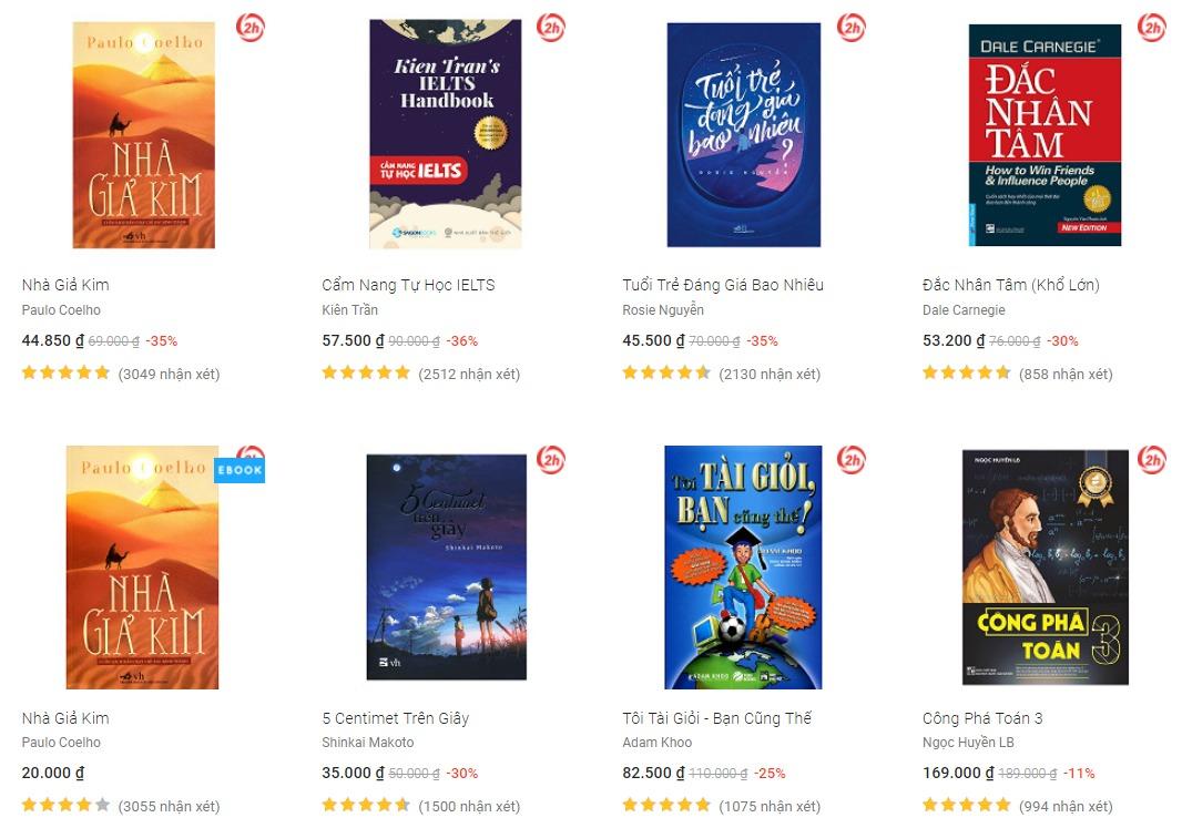 Top 5 trang web mua sách online giá rẻ và uy tín nhất Việt Nam 2018
