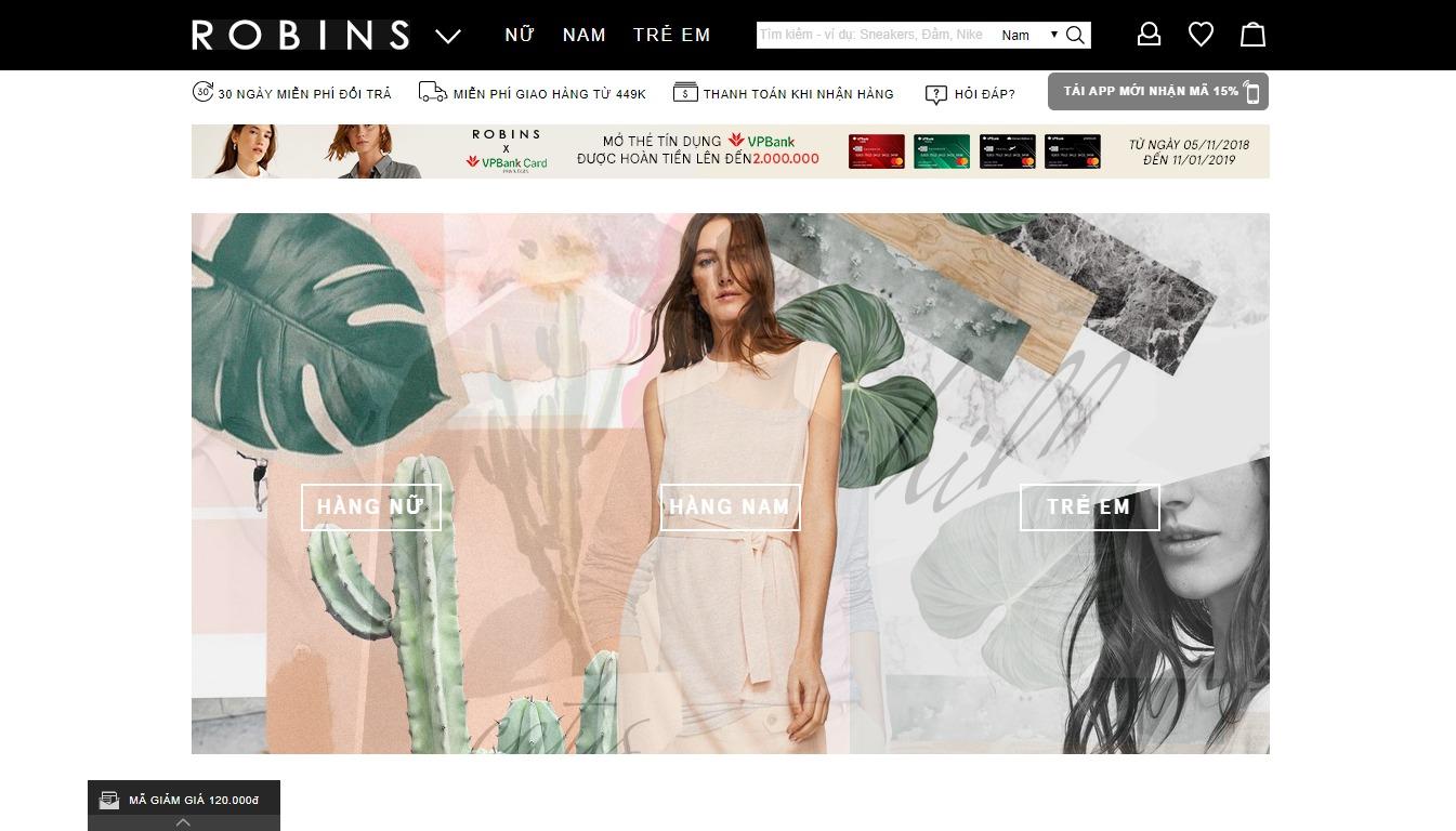 Trang bán hàng của Robins - Zalora cũ