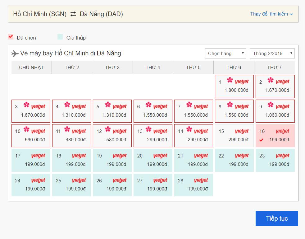 Trường hợp 1 - chọn ngày bay có giá rẻ nhất trong tháng