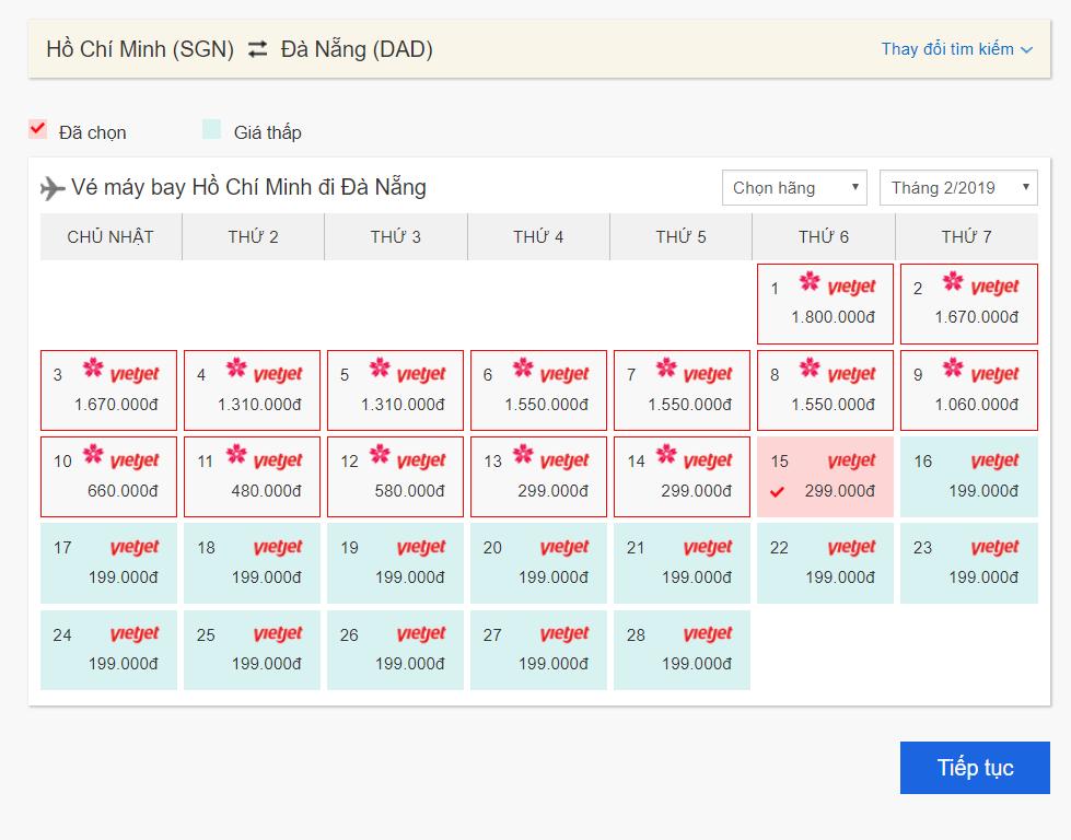 trường hợp 1 - tìm vé máy bay giá rẻ Bestprice trong tháng