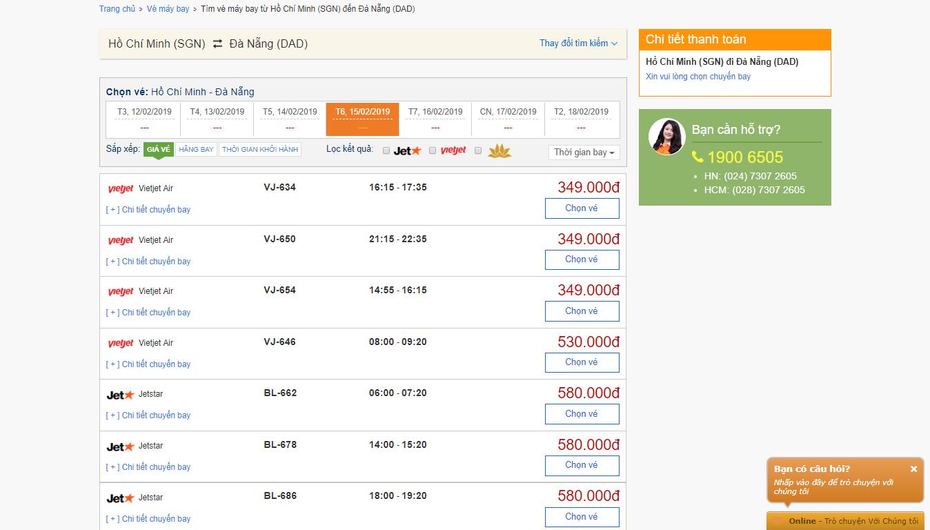 Trường hợp 2 - không nhấn ô tìm vé giá rẻ