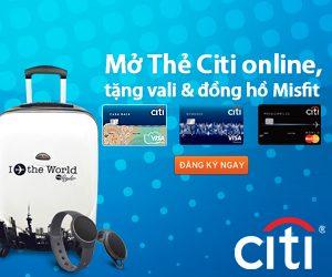 Mở thẻ citibank online nhận vali và đồng hồ misfit