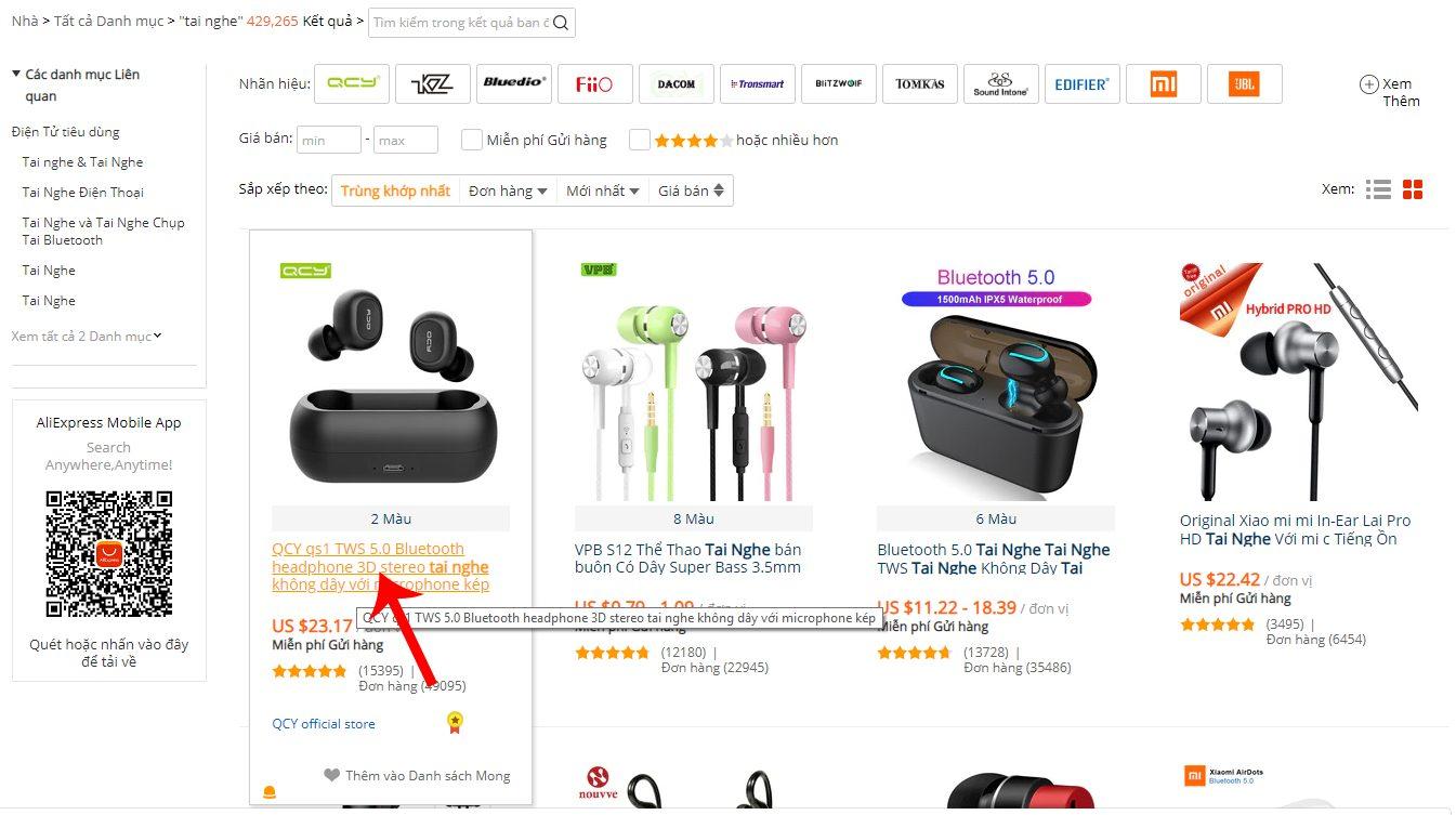Click chọn sản phẩm muốn mua