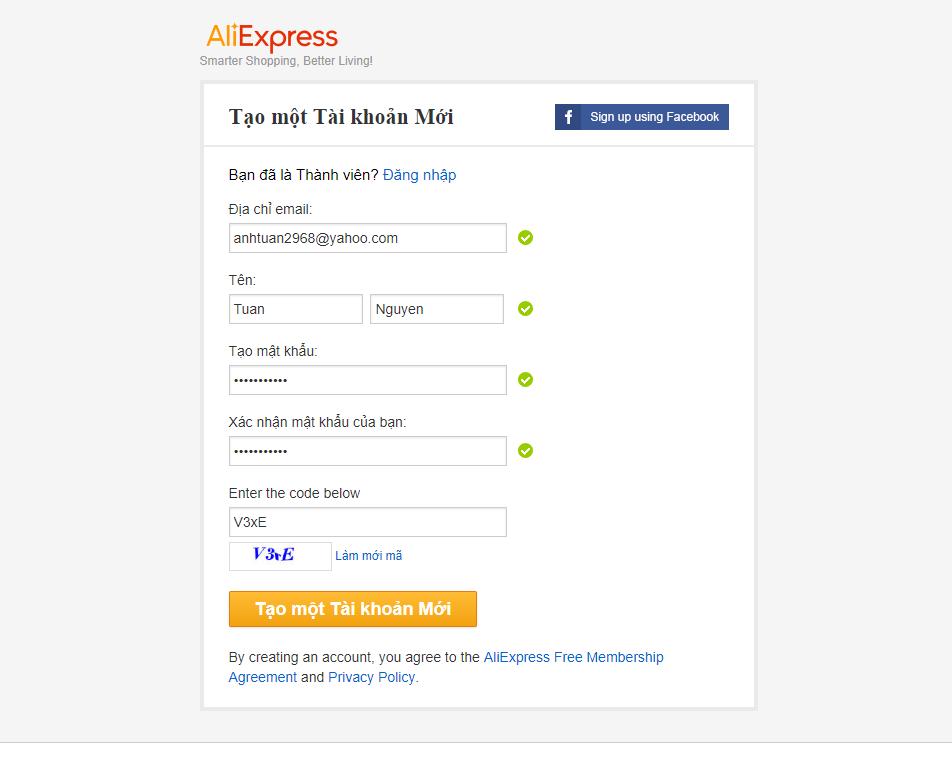 Điền thông tin tạo tài khoản aliexpress