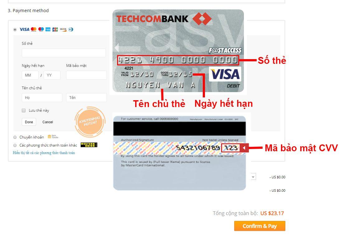 Điền thông tin thanh toán qua thẻ visa