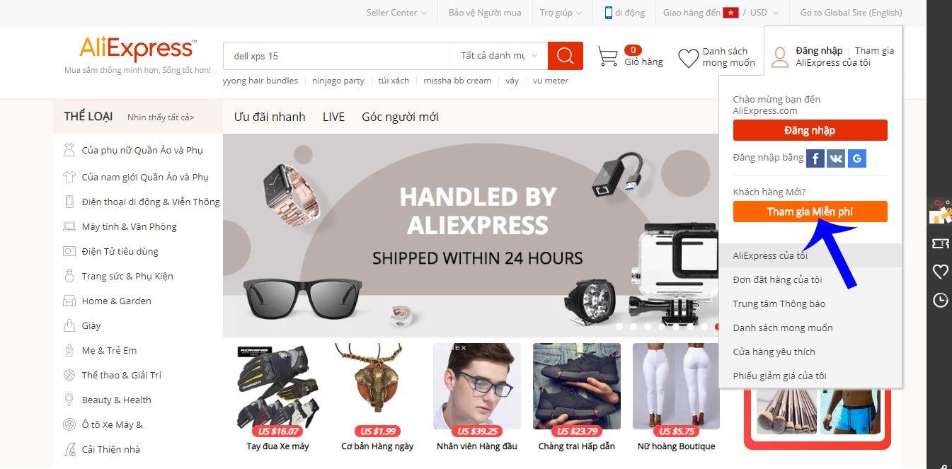 Nhấn nút tham gia miễn phí Aliexpress