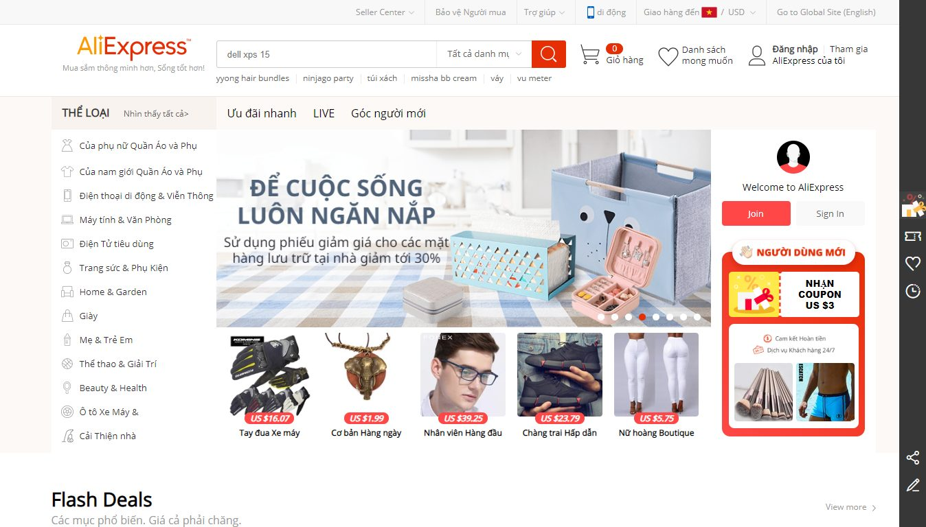 Trang bán hàng Aliexpress