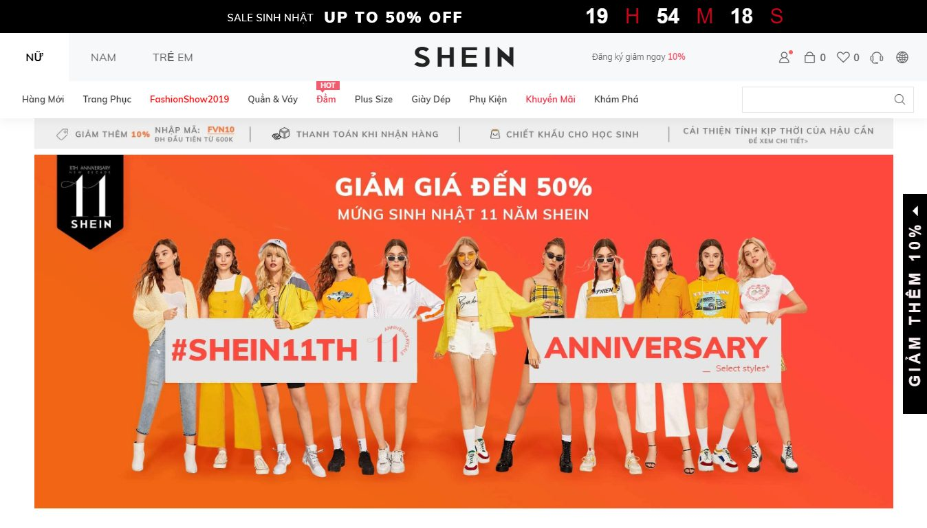 Trang bán hàng Shein Việt Nam